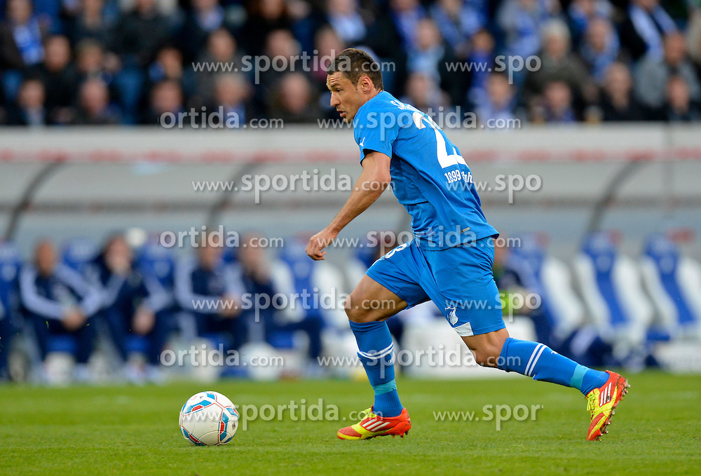 01.04.12, Wirsol Rhein-Neckar-Arena, Sinsheim, GER, 1. FBL, TSG 1899 Hoffenheim vs Schalke 04, 30. Spieltag, im Bild Sejad SALIHOVIC TSG 1899 Hoffenheim am Ball Freisteller, Einzelbild, Aktion // during the German Bundesliga Match, 30th Round between 1899 Hoffenheim and Schalke 04 at the Signal Wirsol Rhein Neckar Arena, Sinsheim, Germany on 2012/04/01. EXPA Pictures © 2012, PhotoCredit: EXPA/ Eibner/ Michael Weber..***** ATTENTION - OUT OF GER *****