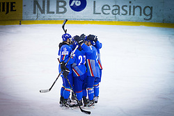 Players of Italy celebrate during Friendly Ice-hockey match between National teams of Slovenia and Italy on April 5, 2013 in Ice Arena Tabor, Maribor, Slovenia. (Photo By Vid Ponikvar / Sportida)