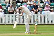 Wicket - Riki Wessels of Nottinghamshire is bowled by Lewis Gregory of Somerset during the Specsavers County Champ Div 1 match between Somerset County Cricket Club and Nottinghamshire County Cricket Club at the Cooper Associates County Ground, Taunton, United Kingdom on 10 June 2018. Picture by Graham Hunt.