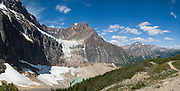 On Mount Edith Cavell, Angel Glacier lies in a cirque above Cavell Glacier and Cavell Pond, in Jasper National Park, Alberta, Canada. Jasper is part of the Canadian Rocky Mountain Parks World Heritage Site declared by UNESCO in 1984. Panorama stitched from 4 images.