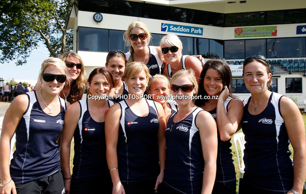 New Zealand Black Sticks women's hockey team at the cricket as guests of New Zealand Cricket.<br />