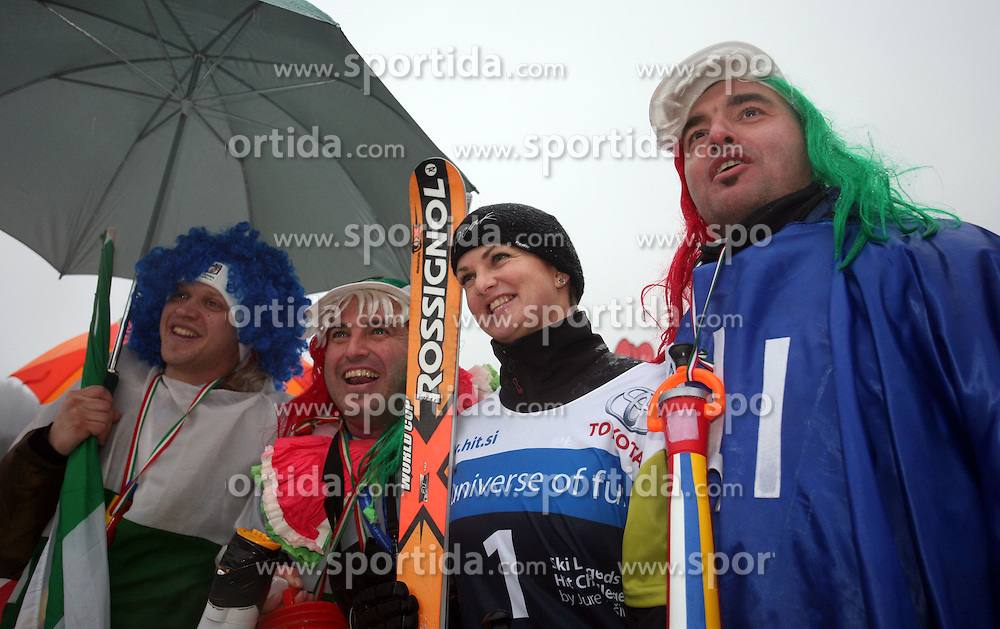"""Spela Pretnar photographed with italian fans after the second run of """"Ski Legends HIT Challenge by Jure Kosir"""" event in Kranjska Gora, Slovenia, on February 2, 2008. (Photo by Vid Ponikvar / Sportal Images)."""