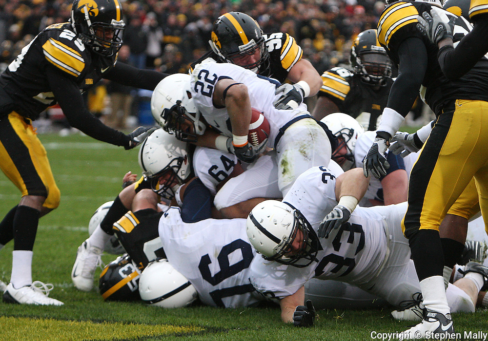 08 NOVEMBER 2008: Penn State running back Evan Royster (22) scores a touchdown in the first half of an NCAA college football game against Penn State, at Kinnick Stadium in Iowa City, Iowa on Saturday Nov. 8, 2008. Iowa beat Penn State 24-23.