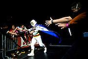 Lucha Libre AAA wrestler Mascarita Sagrada heads to the ring in San Jose, CA March 29, 2009.