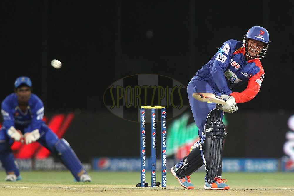 Quinton de Kock of the Delhi Daredevils flicks a delivery for six during match 23 of the Pepsi Indian Premier League Season 2014 between the Delhi Daredevils and the Rajasthan Royals held at the Feroze Shah Kotla cricket stadium, Delhi, India on the 3rd May  2014<br /> <br /> Photo by Shaun Roy / IPL / SPORTZPICS<br /> <br /> <br /> <br /> Image use subject to terms and conditions which can be found here:  http://sportzpics.photoshelter.com/gallery/Pepsi-IPL-Image-terms-and-conditions/G00004VW1IVJ.gB0/C0000TScjhBM6ikg