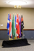 Anaheim , California - April 11, 2015:  Micronations (L-R) Westarctica, Vikesland, Ladonia, Molossia, Ruritania, Slabovia and Shiloh staffed their flags during MicroCon 2015 at the Anaheim Public Library, Saturday April 11, 2015.CREDIT: Matt Roth