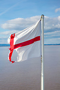 Ragged and torn flag of St George, the English flag - symbol of decay, gloom and pessimism for the future of Britain after Brexit ?