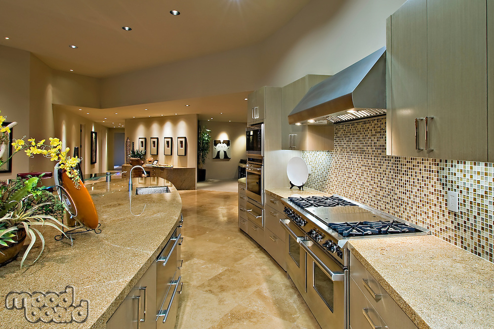 Architecturally designed kitchen and living area