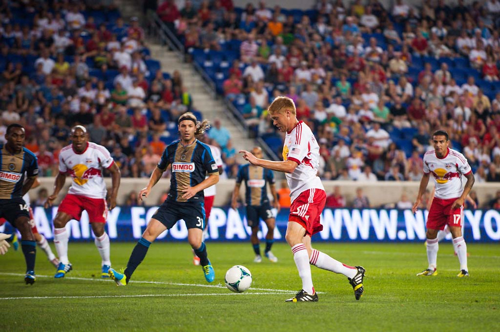 HARRISON, NJ - AUGUST 17:  Markus Holgersson #5  of New York Red Bulls in action during the game against the Philadelphia Union at Red Bulls Arena on August 17, 2013. (Photo By: Rob Tringali)