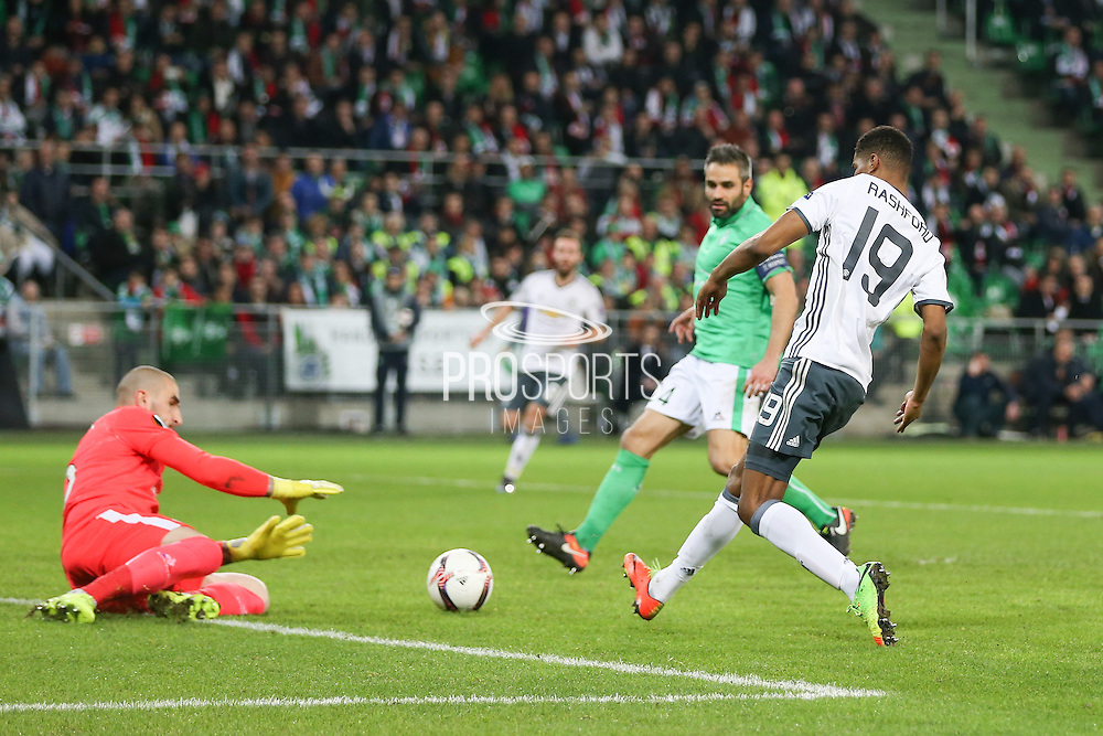 Marcus Rashford Forward of Manchester United shoots at goal during the Europa League match between Saint-Etienne and Manchester United at Stade Geoffroy Guichard, Saint-Etienne, France on 22 February 2017. Photo by Phil Duncan.