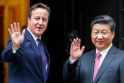 © Licensed to London News Pictures. 21/10/2015. London, UK. Chinese President Xi Jinping meets Prime Minister David Cameron in Downing Street on Wednesday, 21 October 2015. Photo credit: Tolga Akmen/LNP