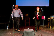 Mike McCarthy and Kate Rutter. Celebrating Linda Smith, Crucible Studio Sheffield 03/04/08...© Martin Jenkinson, tel 0114 258 6808 mobile 07831 189363 email martin@pressphotos.co.uk. Copyright Designs & Patents Act 1988, moral rights asserted credit required. No part of this photo to be stored, reproduced, manipulated or transmitted to third parties by any means without prior written permission.