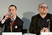 "Press conference and presentation of documenta 12 Magazine Nr. 1 ""Modernity?"" at Secession, Vienna. Roger M. Buergel, artistic director of documenta 12 (l.), Georg Schoellhammer, Head and editor in chief documenta magazines (r.)"