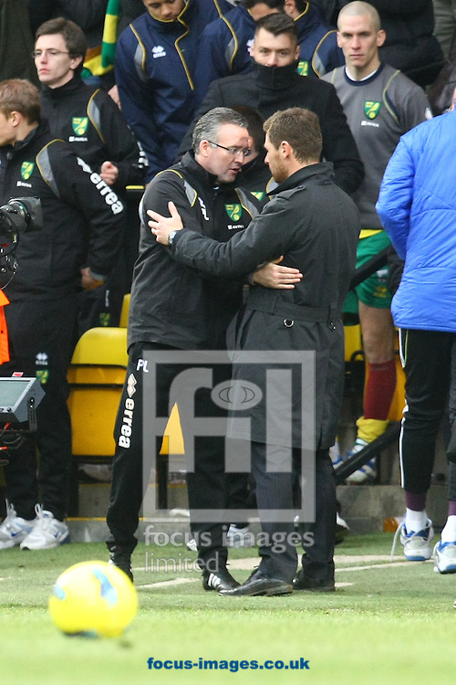 Picture by Paul Chesterton/Focus Images Ltd.  07904 640267.21/01/12.Norwich Manager Paul Lambert and Chelsea Manager Andre Villas-Boas at the end of the Barclays Premier League match at Carrow Road Stadium, Norwich.