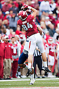 FAYETTEVILLE, AR - OCTOBER 31:  Hunter Henry #84 of the Arkansas Razorbacks catches a pass during a game against the UT Martin Skyhawks at Razorback Stadium on October 31, 2015 in Fayetteville, Arkansas.  The Razorbacks defeated the Skyhawks 63-28.  (Photo by Wesley Hitt/Getty Images) *** Local Caption *** Hunter Henry