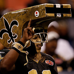 August 27, 2010; New Orleans, LA, USA; A New Orleans Saints fan cheers  during the second half of a preseason gameagainst the San Diego Chargers at the Louisiana Superdome. The New Orleans Saints defeated the San Diego Chargers 36-21. Mandatory Credit: Derick E. Hingle