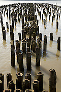 NYC  west side old disintegrating pier part of the old industry