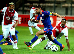 Cape Town 18-02-28 Ajax cape town players Toriq Losper and Mario Booysen defending while Supersport players Dean Furman  trying to attack in the PSL Game In Athlone Staduim Pictures Ayanda Ndamane African news agency/ANA