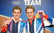 Olympics London 2012 <br /> Triathlon Gold and Bronze Medal winners <br /> <br /> Alistair Brownlee - Gold Medal <br /> <br /> Jonathan Brownlee - Bronze Medal <br /> <br /> press conference <br /> Team GB House, Stratford, London, Great Britain <br /> <br /> 7th August 2012 <br />  <br /> <br /> <br /> Photograph by Elliott Franks