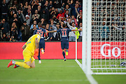 Angel Di Maria (PSG) scored a goal and celebrated it, Moussa DIABY (PSG), Stephane RUFFIER (AS Saint-Etienne) during the French Championship Ligue 1 football match between Paris Saint-Germain and AS Saint-Etienne on September 14, 2018 at Parc des Princes stadium in Paris, France - Photo Stephane Allaman / ProSportsImages / DPPI