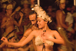 Chile, Easter Island:  The Kari Kari dance troupe dances at the Hotel Hanga Roa in Hanga Roa.  Easter Island and South Pacific dance styles..Photo #: ch335-33047..Photo copyright Lee Foster www.fostertravel.com lee@fostertravel.com 510-549-2202