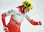 Graz, Austria - 2017 March 24: Aleksandra Kalisz from from SO Poland (148) competes in Speed Skating 333 meters race while Special Olympics World Winter Games Austria 2017 at Icestadium Graz Liebenau on March 24, 2017 in Graz, Austria.<br /> <br /> Mandatory credit:<br /> Photo by © Adam Nurkiewicz / Mediasport<br /> <br /> Adam Nurkiewicz declares that he has no rights to the image of people at the photographs of his authorship.<br /> <br /> Picture also available in RAW (NEF) or TIFF format on special request.<br /> <br /> Any editorial, commercial or promotional use requires written permission from the author of image.<br /> <br /> Image can be used in the press when the method of use and the signature does not hurt people on the picture.
