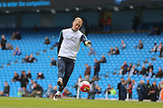 Manchester City goalkeeper Joe Hart (1) in the warm up during the Barclays Premier League match between Manchester City and Manchester United at the Etihad Stadium, Manchester, England on 20 March 2016. Photo by Phil Duncan.