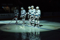 KELOWNA, CANADA - JANUARY 22: Tomas Soustal #15, Rodney Southam #17, Cole Linaker #26, Cal Foote #25 and Gordie Ballhorn #4 of Kelowna Rockets line up against the Tri City Americans on January 22, 2016 at Prospera Place in Kelowna, British Columbia, Canada.  (Photo by Marissa Baecker/Shoot the Breeze)  *** Local Caption *** Tomas Soustal; Cole Linaker; Cal Foote; Rodney Southam; Gordie Ballhorn;