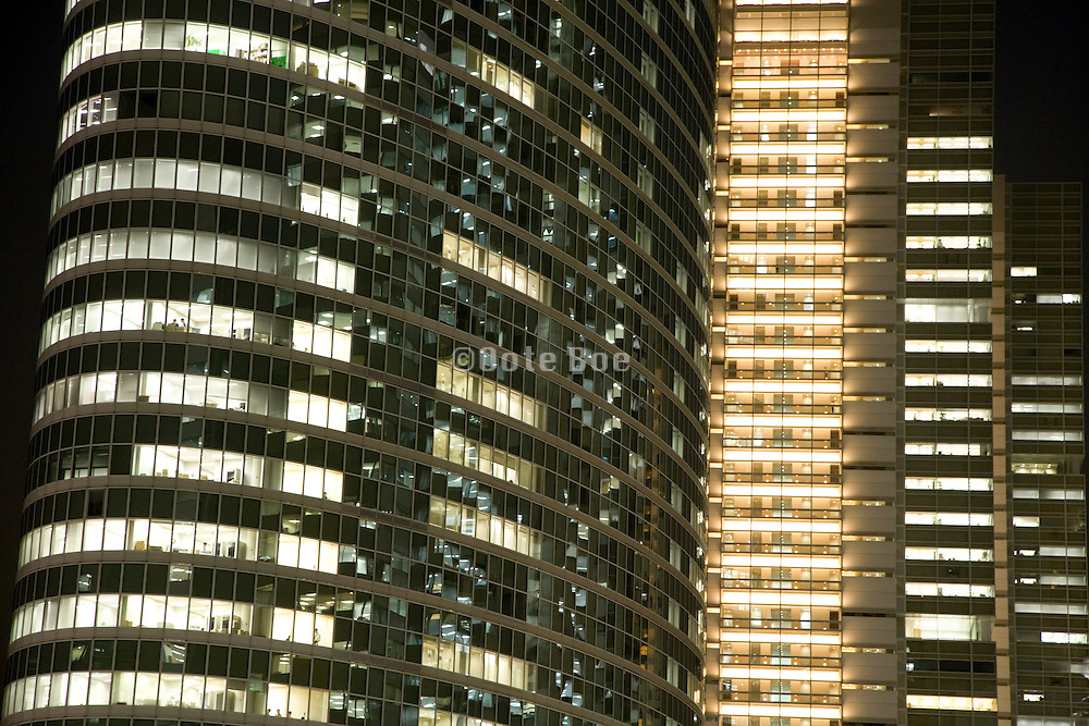 office high rise in Tokyo at night