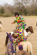 A costumed reveler dances on the back of his horse during the Mamou Courir de Mardi Gras chicken run on Fat Tuesday February 17, 2015 in Mamou, Louisiana. The traditional Cajun Mardi Gras involves costumed revelers competing to catch a live chicken as they move from house to house throughout the rural community.
