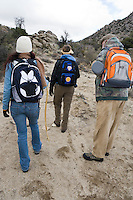 Three people hiking