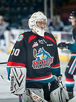 KELOWNA, CANADA - DECEMBER 3: Sam Bobyn #30 of Kelowna Rockets warms up against the Saskatoon Blades on December 3, 2014 at Prospera Place in Kelowna, British Columbia, Canada.  (Photo by Marissa Baecker/Shoot the Breeze)  *** Local Caption *** Sam Bobyn;