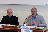 ROME, ITALY - JUNE 26: Monsignor Enrico Feroci, director of Caritas of Rome, Stefano Vicari Head of the Operative Unit Complex of Child Neuropsychiatry of the Child Child Child Pediatric Hospital of Rome  during the press conference to present a survey conducted by Caritas of Rome on a sample of 1,600 young people regarding the knowledge and consumption of gambling on June 26, 2018 in Rome, Italy.