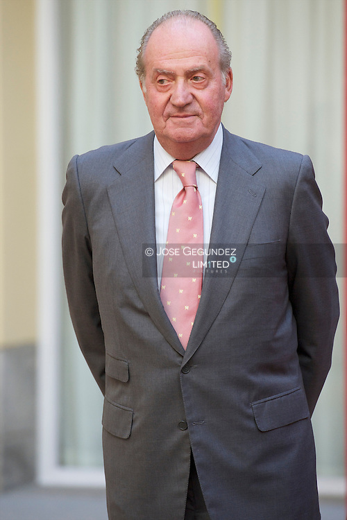 Spanish King Juan Carlos, Spanish Queen Sofia and Princess Elena attend Annual Meeting of the Board of Instituto Cervantes and subsequent lunch with the Trustees of the Cervantes Institute, Latin American Ambassadors and Authorities at Palacio del Pardo in Madrid