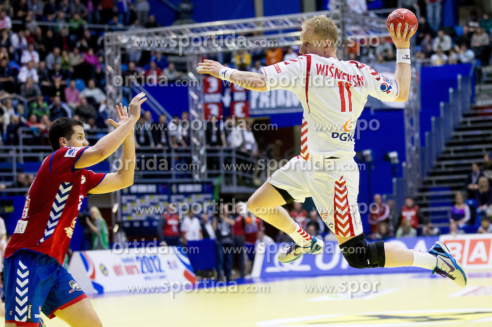 Adam Wisniewski of Poland during handball match between Poland and Serbia in Preliminary Round of 10th EHF European Handball Championship Serbia 2012, on January 15, 2012 in Arena Pionir, Belgrade, Serbia. Serbia defeated Poland 22-18. (Photo By Vid Ponikvar / Sportida.com)