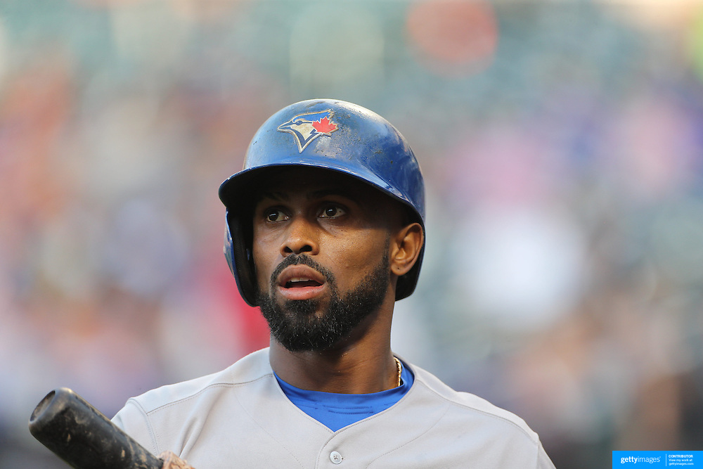 Jose Reyes, Toronto Blue Jays, preparing to bat during the New York Mets Vs Toronto Blue Jays MLB regular season baseball game at Citi Field, Queens, New York. USA. 16th June 2015. Photo Tim Clayton
