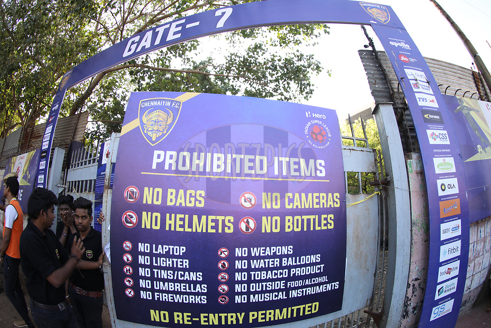 Sign board during match 41 of the Hero Indian Super League between Chennaiyin FC and Delhi Dynamos FC   held at the Jawaharlal Nehru Stadium, Chennai India on the 7th January 2018<br /> <br /> Photo by: Arjun Singh  / ISL / SPORTZPICS