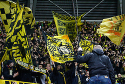 03.03.2015, Stadion Dresden, Dresden, GER, DFB Pokal, SG Dynamo Dresden vs Borussia Dortmund, Achtelfinale, im Bild Stimmung im BVB-Block // SPO during German DFB Pokal last sixteen match between SG Dynamo Dresden and Borussia Dortmund at the Stadion Dresden in Dresden, Germany on 2015/03/03. EXPA Pictures &copy; 2015, PhotoCredit: EXPA/ Eibner-Pressefoto/ Hundt<br /> <br /> *****ATTENTION - OUT of GER*****