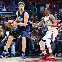 23 December 2016: Dallas Mavericks forward Dirk Nowitzki (41) posts up LA Clippers forward Wesley Johnson (33) during the Dallas Mavericks 90-88 victory over the LA Clippers, at the Staples Center, Los Angeles, California, USA.