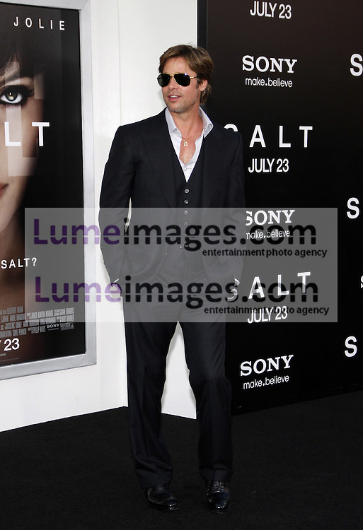 """Brad Pitt at the Los Angeles premiere of 'Salt"""" held at the Grauman's Chinese Theatre in Hollywood on July 19, 2010. Credit: Lumeimages.com"""