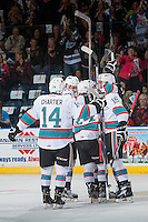 KELOWNA, CANADA - APRIL 12: The Kelowna Rockets celebrate a goal against the Victoria Royals on April 12, 2016 at Prospera Place in Kelowna, British Columbia, Canada.  (Photo by Marissa Baecker/Shoot the Breeze)  *** Local Caption *** Goal;
