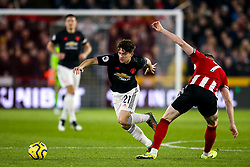 Daniel James of Manchester United takes on John Lundstram of Sheffield United - Mandatory by-line: Robbie Stephenson/JMP - 24/11/2019 - FOOTBALL - Bramall Lane - Sheffield, England - Sheffield United v Manchester United - Premier League