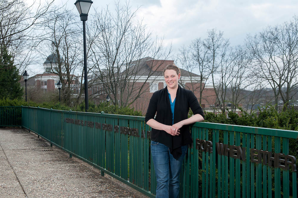 Kara Tabor, Administrative Services Associate for the Department of Sociology and Anthropology at Ohio University, stands outside Bentley Hall on Thursday, April 9.