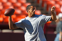 Oct 30, 2011; San Francisco, CA, USA; San Francisco 49ers quarterback Colin Kaepernick (7) warms up before the game against the Cleveland Browns at Candlestick Park. San Francisco defeated Cleveland 20-10. Mandatory Credit: Jason O. Watson-US PRESSWIRE