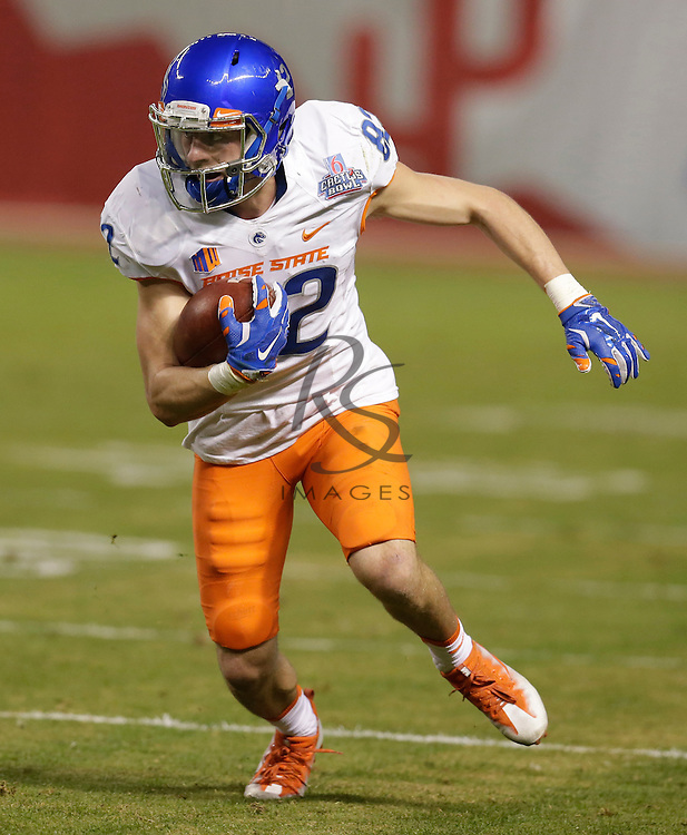 Boise State wide receiver Thomas Sperbeck (82) during the Cactus Bowl NCAA college football game against Baylor, Tuesday, Dec. 27, 2016, in Phoenix. (AP Photo/Rick Scuteri)
