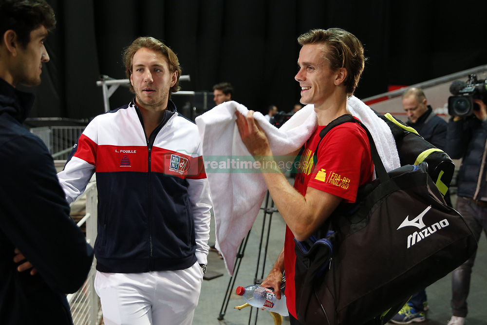 November 21, 2017 - Lille, France - LILLE, FRANCE - NOVEMBER 21 :  Arthur De Greef and Lucas Pouille during the training session of the Belgian Davis Cup team  before the Davis Cup World Group Final match between France and Belgium on November 21, 2017 in Lille, France, 21/11/2017. (Credit Image: © Panoramic via ZUMA Press)