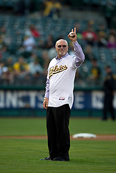 OAKLAND, CA - AUGUST 19:  Former Oakland Athletics player Mike Epstein stands on the field to throw out the ceremonial first pitch before an interleague game against the New York Mets at O.co Coliseum on August 19, 2014 in Oakland, California. The Oakland Athletics defeated the New York Mets 6-2.  (Photo by Jason O. Watson/Getty Images) *** Local Caption *** Mike Epstein
