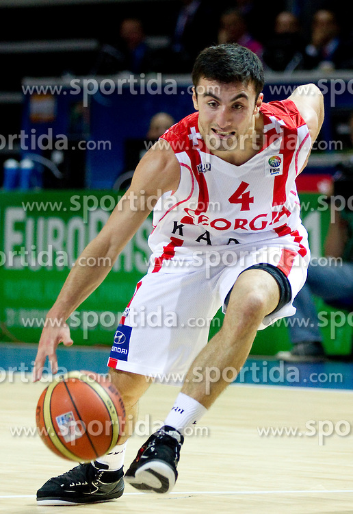 Giorgi Gamqrelidze of Georgia during basketball match between National teams of Georgia and Russia in Group D of Preliminary Round of Eurobasket Lithuania 2011, on September 1, 2011, in Arena Svyturio, Klaipeda, Lithuania. (Photo by Vid Ponikvar / Sportida)
