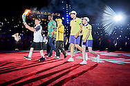 Torch Run on the last stage during opening ceremony of the Special Olympics World Games Los Angeles 2015 at the Los Angeles Coliseum Stadium on July 25, 2015 in Los Angeles, USA.<br /> USA, Los Angeles, July 25, 2015<br /> <br /> Picture also available in RAW (NEF) or TIFF format on special request.<br /> <br /> For editorial use only. Any commercial or promotional use requires permission.<br /> <br /> Adam Nurkiewicz declares that he has no rights to the image of people at the photographs of his authorship.<br /> <br /> Mandatory credit:<br /> Photo by © Adam Nurkiewicz / Mediasport
