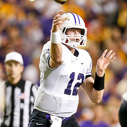 Oct 26, 2013; Baton Rouge, LA, USA; Furman Paladins quarterback Reese Hannon (12) throws against the LSU Tigers during the first half of a game at Tiger Stadium. Mandatory Credit: Derick E. Hingle-USA TODAY Sports
